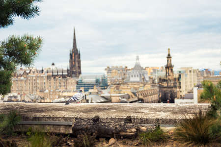 dramatic: Edinburgh cityscape with dramatic skies view from restaurant roof terrace