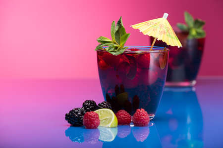 garnish: Raspberry and blackberry cocktail with mint garnish. Studio shot Stock Photo