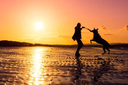 mujer con perro: Chica inconformista juega con el perro en una playa durante la puesta del sol, siluetas con colores vibrantes
