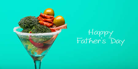 unusual vegetables: Unusual cocktail with meat and vegetables, fathers day concept Stock Photo