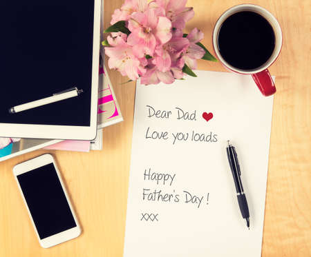Fathers day concept, Handwritten letter to father photo