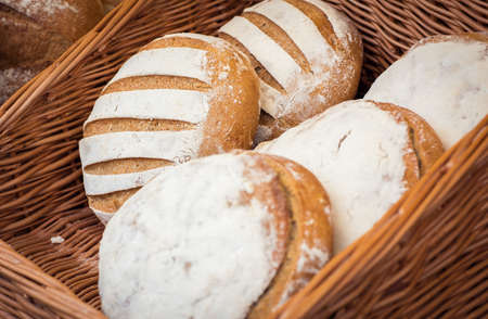 edinburgh background: Selection fo various cereal homemade breads on display Stock Photo