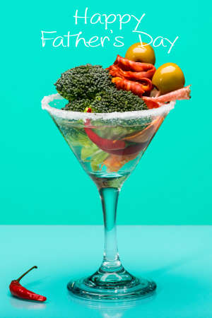 unusual vegetables: Fathers day concept, Unusual cocktail with meat and vegetables