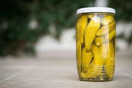 gherkins: Jar of homemade Pickled Gherkins