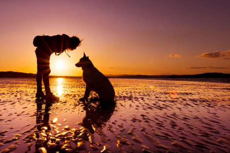 Hipster girl playing with dog at a beach during sunset, silhouettes with vibrant colors 版權商用圖片 - 41587564