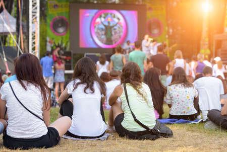Freunde sitzen auf dem Rasen, eine im Freien Musik genießen, Kultur, Community-Event, Festival Standard-Bild - 44176726