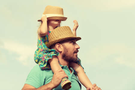 father and child: Happy father and daughter having fun together, family time concept