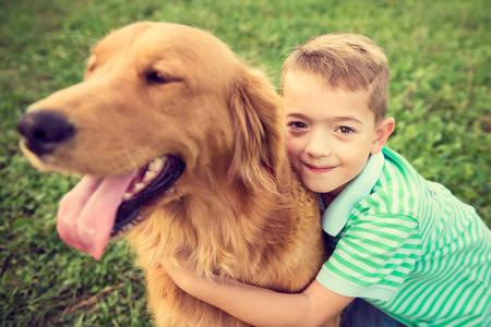 dorado: Niño pequeño lindo que abraza su perro mascota golden retriever