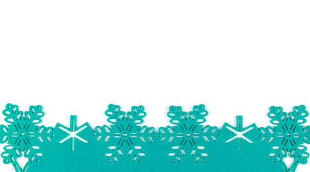 Unusual design christmas background with turquoise snowflakes and copy space on white background 스톡 콘텐츠