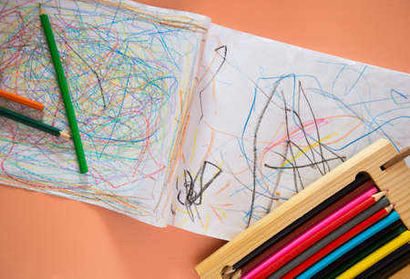 ittle: Little childs drawing, creativity in childhood concept