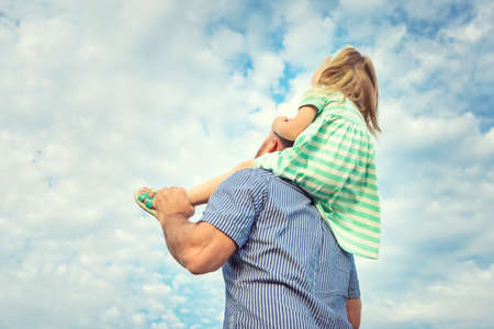 fun day: Adorable daughter and father portrait, happy family, future concept