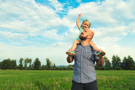 day dream: Adorable daughter and father portrait, happy family, future concept