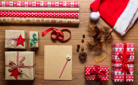 christmas list: Retro christmas, desk view from above with letter to santa, xmas concept with copy space Stock Photo