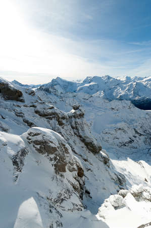 beautiful scenery: Scenery of snow covered mountains valley Titlis, Engelberg, Switzerland Stock Photo