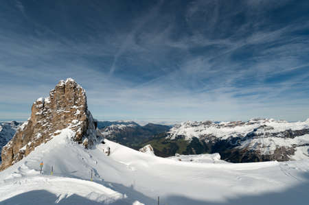snow covered mountains: Scenery of snow covered mountains valley Titlis, Engelberg, Switzerland Stock Photo
