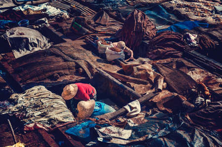 marrakesh: Workers in the tanneries of Marrakesh, Morocco.