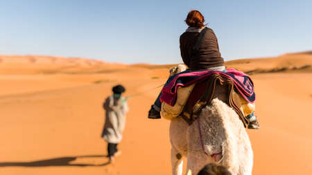 Woman traveling on camel led by a berber nomad, back view 스톡 콘텐츠