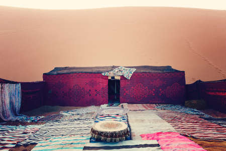 erg: Bedouin nomad tent camp, Erg Chebbi, Morocco, Sahara, Morocco