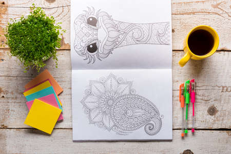 craze: Adult coloring books, new stress relieving trend, mindfulness concept