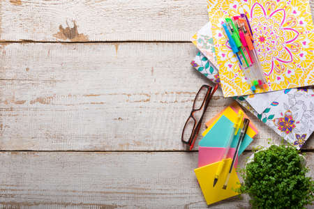 craze: Adult coloring books, stress relieving trend, mindfulness concept Stock Photo