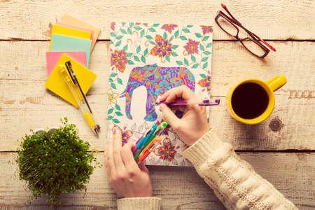성인 색칠 공부 색칠 여자, 새로운 스트레스가 추세를 완화, 마음 챙김의 개념, 손 세부 사항