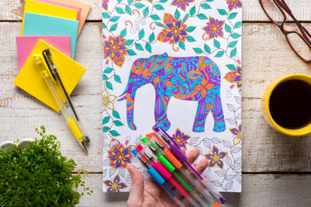 Woman holding gel pens, Adult coloring books, new stress relieving trend, mindfulness concept Standard-Bild