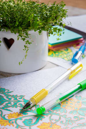 mindfulness: Adult coloring books, new stress relieving trend, mindfulness concept
