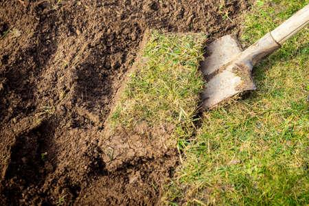 grassplot: Lawn digging Stock Photo