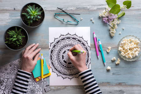 lay: Flat lay, female coloring adult coloring books, new stress relieving trend