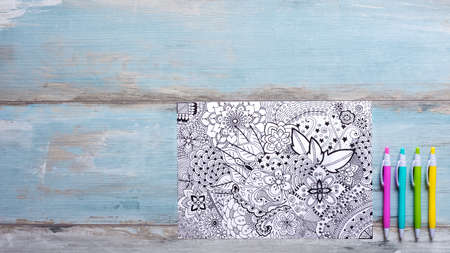 trend: Adult coloring books, new stress relieving trend Stock Photo