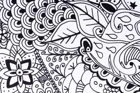autocuidado: Adulto libro para colorear ilustraci�n dibujados a mano, nueva tendencia aliviar el estr�s