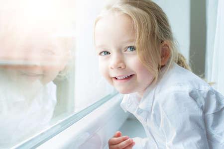 pre school: Cute blond pre school girl smiling portrait