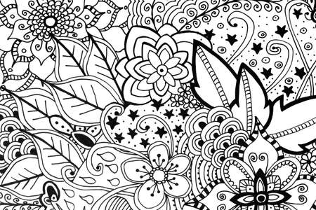 autocuidado: Adult coloring book hand drawn illustration, new stress relieving trend