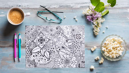 Adult coloring books, new stress relieving trend Archivio Fotografico