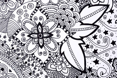 Adult Coloring Book Hand Drawn Illustration New Stress Relieving Trend