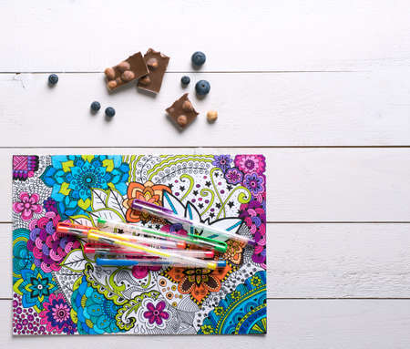 mindfulness: Adult coloring books, new stress relieving trend Stock Photo
