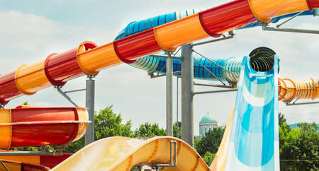 Tobogan, water slide, summer vacation fun activities 스톡 콘텐츠