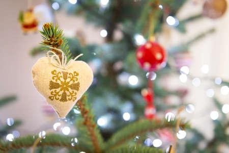 xmas background: Handmade retro xmas decoration, xmas tree festive background Stock Photo