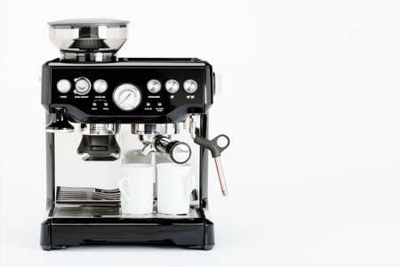 black appliances: Isolated black manual coffee maker with coffee mugs on a white background, front view