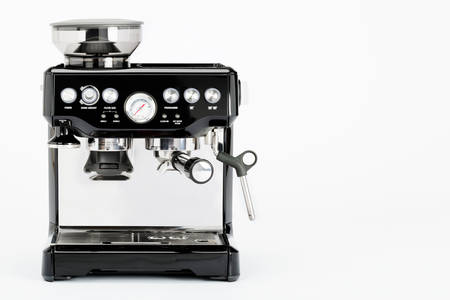 black appliances: Isolated black manual coffee maker with grinder on a white background, front view