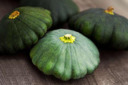 Green Patty pan Squash displayed during farmers market. Fresh bio Patty pan Squash in grocery store or supermarket