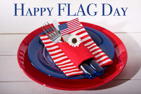 Beautiful blue red and white table setting, Happy flag day party concept