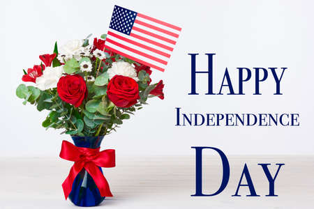 11th: Beautiful bouquet with american flag on white background, Happy independence day concept
