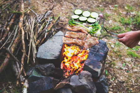 outdoor fireplace: Man preparing dinner on campfire, adventure lifestyle camping vacation concept