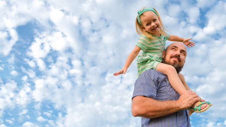 Adorable father daughter portrait, happy family, fathers day concept