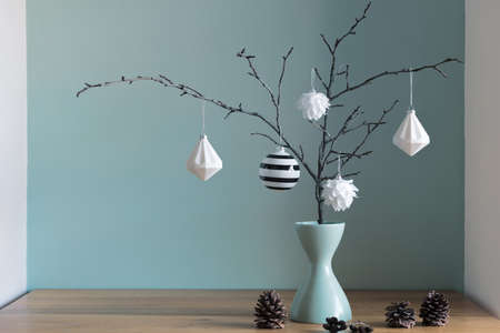 Modern and elegant simple nordic christmas decor in black and turquoise colors