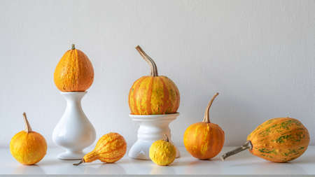 Thanksgiving decoration. Minimal autumn inspired room decoration. Selection of various pumpkins on white shelf against white wall. Stock Photo