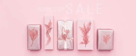 Boxing Day Sale Banner. Christmas Shopping, Offer, Sale Concept. Banco de Imagens