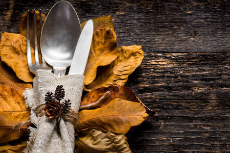Thanksgiving Meal Setting. Seasonal table setting. Thanksgiving autumn place setting with cutlery and arrangement of colorful fall leaves. 스톡 콘텐츠