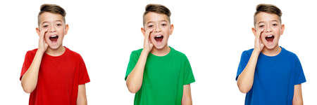 Collage of a cute school boy in colored T-shirt, shouting and screaming towards camera. Speech therapy concept over white background. Front view.